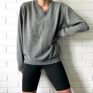 Zara grey wool blend v neck oversized sweater L